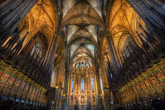 Barcelona's Gothic Cathedral (TheFella) Tags: barcelona travel roof slr architecture digital photoshop canon eos hall photo europe european cathedral interior gothic grand catalonia photograph processing 5d inside catalunya ornate dslr pillars hdr highdynamicrange catalua mkii markii postprocessing travelphotography photomatix catalonha thefella 5dmarkii conormacneill thefellaphotography eulaliaofbarcelona