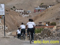 Cycling at Kibber (4) (Eric Lon) Tags: school india lake mountains bike yoga trekking trek buddha lac monk bouddha tibet trail lane teaching himalaya sentier velo monastere vtt ecole spiti association inde montagnes bouddhisme marcher moine enseignement kibber ericlon byking randonner yogatrekking tibetindien