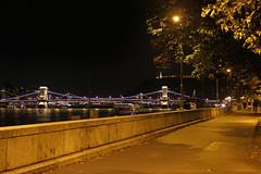 Budapest - bicycle road near the chain bridge at night (Romeodesign) Tags: road street longexposure bridge bike night river lights hungary empty budapest perspective chain wharf lamps este bem duna danube donau lánchíd 550d gettyhungary1
