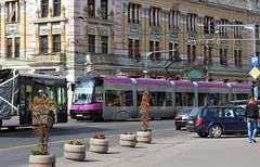 Corner of Str. General Dragolina & Str. Horea - Cluj-Napoca, Jud. Cluj, Romania (Wayne W G) Tags: blue yellow europe publictransportation pastel blues tram romania pastels yellows streetcar trams easterneurope cluj clujnapoca streetcars geo:country=romania