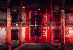 redrum ( the caretaker ) (Kriegaffe 9) Tags: windows red water reflections blood explore horror gasmask pillars urbex bassmaltings