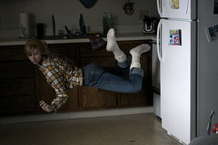 getting the hang of flying (peculiarnothings) Tags: portrait selfportrait kitchen self fly flying fridge levitation refridgerator float