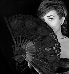YAZMINS FAN MONO (CJs STUDIO) Tags: lighting portrait girl beauty youth dark studio mono fan model eyes lace dramatic glove striking lowkey pictorial tassle