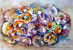 Mushrooms. (Laura Climent) Tags: stilllife mushrooms chanterelles rovellons watercolorlauracliment