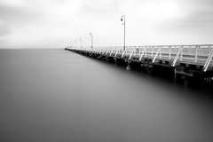 Calm Before the Storm (Fear_Through_The_Eyes) Tags: longexposure sea summer bw storm beach water landscape pier walk jetty brisbane calm queensland shorncliffe