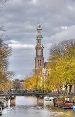 Westertoren (Jan Kranendonk) Tags: autumn holland tower fall church dutch amsterdam canal europe herfst gracht westertoren westerkerk