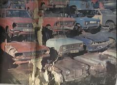 scrapyard. (RUSTDREAMER.) Tags: vespa scrapyard 582 toyotacrown austina35 carindustry audi100 datsun1200 vauxhallvictor austinwestminster fiat128 roverp5 riley472 wolseley6110 alladinbooks moskivitch