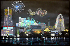 Fireworks over Yokohama (Cryogenius) Tags: yokohama fireworks nightlights cosmoclock landmarkcenter coyle