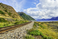 Alaskan Railroad at Beluga Point Along The Seward Highway (Turnagain Arm) (Mister Joe) Tags: railroad usa mountains nature grass alaska point nikon highway dynamic arm scenic tracks ak joe anchorage wilderness beluga range hdr seward turnagain byway