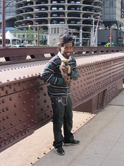 20120517 32 Man with Puppy (davidwilson1949) Tags: chicago man puppy illinois