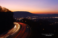 Missionary Ridge Sunset (Virginia Bailey Photography) Tags: city longexposure sunset mountain chattanooga night canon tn dusk tennessee south interstate lookoutmountain i24 missionaryridge lightstream 52weeks canon50d project52 sceniccity screstroad