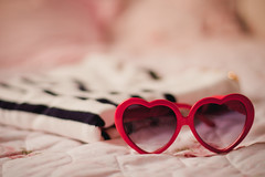 20/52 - Heart (AndreaDrops) Tags: pink red 50mm sweater heart girly 50mm14 girlie zara striped pinklight 500d heartsunglasses 52weeks goldenbuttons pinkhour t1i canont1i