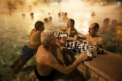 Wet Chess (Tony N.) Tags: hot men water pool hotwater four bath hungary budapest chess steam spa piscine bains magyarorszag szechenyi varosliget hongrie vapeurs szechenyibath nikkor175528 d300s bainsszechenyi