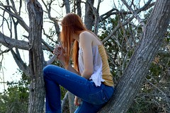 Ashley in Autumn (Everyday @dventures) Tags: autumn red woman tree girl nikon sitting looking climbing jeans