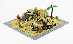 Preparing for the Assault... (Florida Shoooter) Tags: desert lego german ww2 diorama dak kubelwagen sdkfz10 nebelwerfer sturmpanzeriibison
