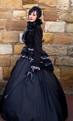 7D0080  Beautiful Lady with Black satin top & Black Hair - Whitby Goth Weekend 3rd Nov 2012 (gemini2546) Tags: nov goth week satin 3rd black 2470 canon sigma hair beautiful 7d lens top lady skirt whitby 2012 neckline ruffled