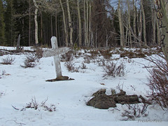 Winter Rest (RootsRunDeep (Computer Down....)) Tags: trees winter snow grave wooden cross headstone evergreen unknown mysterious aspen elginpark bighornmountain