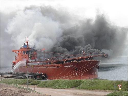 Yeoman Bontrup on fire at Glensanda