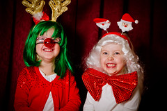 Merry Christmas! (Brady Withers) Tags: christmas silly sisters canon happy toddler photobooth child wig merry merrychristmas lightroom offcameraflash strobist canon277028l canon7d bwsterlingphotography