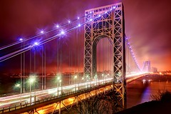 The George Washington Bridge on December 16, 2012 (mudpig) Tags: nyc longexposure bridge newyork rain night geotagged newjersey manhattan gothamist hdr fortlee georgewashingtonbridge mudpig stevekelley stevenkelley