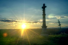 rise of the religion (Jakub Puskas) Tags: hdr sunset cross religious sun flare
