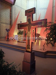 20160504_140611 (coldgazemedia) Tags: france taiz saneetloire burgundy taizcommunity communautdetaiz photobank stockphoto church indoor christianity chapel cross jesus painting