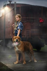 Journey (Sonya Adcock Photography) Tags: child kid childphotography dog animal pet mansbestfriend fineart fineartphotography train trainstation railroad hobo hobosack light lamp lampost rain raining dreary dusk rustic travel nikon nikond700 nikkor nikkor105mmdc