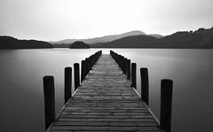 Jetty silhouetty (Nathan J Hammonds) Tags: jetty long exposure monochrome black white nd 10stop lake district coniston calm nikon d750 water