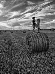 IMG_9965_bw (ct_purley) Tags: hay bales isle wight canon 7d fields sunny children brother sister