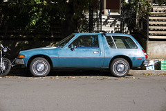 1977 AMC Pacer (Curtis Gregory Perry) Tags: portland oregon 1977 pacer amc car automobile blue nikon d800e street classic old vintage auto wagon station estate motorcycle chain lock bumper usa unitedstates america united states