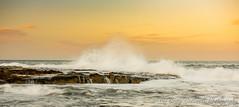 Dunstanburgh Beach, Northumberland (Stormrider-UK) Tags: sea sunset sun water splash rocks waves northumberland england