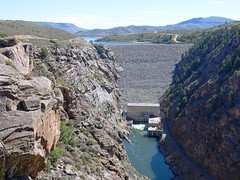 Blue Mesa Dam on the Gunnison River in Western Colorado (lhboudreau) Tags: bluemesadam dam water river lake stream creek gunnisonriver reservoir bluemesa bluemesareservoir crag canyon rock rocks stone stones rockformation rockformations mountain mountains colorado usa westerncolorado cliff cliffs outdoor outdoors landscape landscapes mountainside curecantinationalrecreationarea curecanti earthfilldam zonedearthfilldam gorge