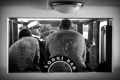 Three men in a boat (tomavim) Tags: stripes sailors captain crew ship boat sail boattrip