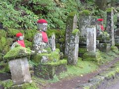 Gravestones among the Jizo statues (seikinsou) Tags: japan nikko autumn kanmangafuchi gorge abyss daiyagawa river jizo gravestone grave align