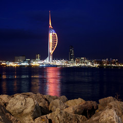 Spinnaker by Night (likrwy) Tags: reflection tower wet night dark nocturnal portsmouth spinaker