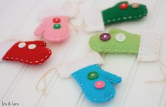 mitten ornament (leaandlars) Tags: christmas pink blue red tree green aqua buttons teal craft felt ornament mitten handstitch