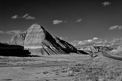 The Painted Desert In Black and White (Laveen Photography (aka cyclist451)) Tags: road park arizona bw white black clouds forest landscape az painteddesert national holbrook petrified