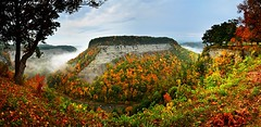 The Big Bend Panorama, Letchworth State Park, New York (NY) (DTA_0260-63) (masinka) Tags: statepark autumn panorama orange green fall nature colors leaves yellow fog river landscape buffalo woods rocks stitch pano grandcanyon atmosphere canyon hike cliffs east rochester foliage trail letchworth gorge daybreak geneseeriver bigbend foggymorning ptgui valleyfog foggysunrise