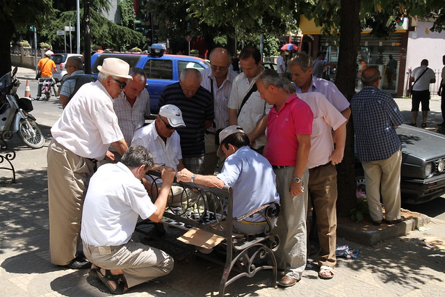 Playing a game with audience in the streets of Tirana