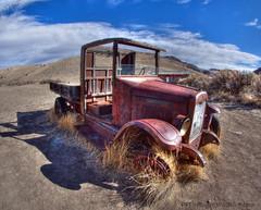Old International truck (Pattys-photos) Tags: truck montana cloudy international ghosttown hdr fisheyelens bannack