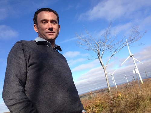Austen Hughes a community wind developer at the Nuttby Wind Farm west of Truro Nova Scotia