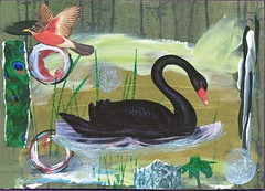 580365 5 x 7 inch postcard (CorgiFeet) Tags: collage painting postcard stamp blackswan daniellewilliams angiecope