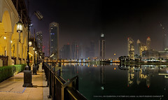 Dubai @ 4AM (Charn High ISO Low IQ) Tags: longexposure nightphotography moon building lamp canon eos lights dubai cityscape uae eid earlymorning 4am hdr waterreflection 600d dubaimall eidcelebration dubaifountain
