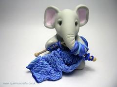 Knitting Elephant (Quernus Crafts) Tags: blue elephant cute wool knitting knit polymerclay knittingneedles quernuscrafts