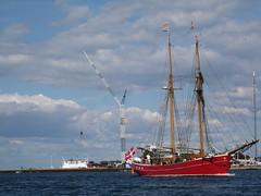 ship in Copenhagen (VERUSHKA4) Tags: city travel blue red sea summer sky cloud seascape water beauty canon copenhagen denmark europe day ship cityscape flag august shore danish scandinavia