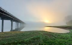 Misty Rise...(Soledad) Explored (Eduardo Regueiro) Tags: bridge autumn espaa mist lake sunrise spain corua pantano galicia amanecer otoo laguna cecebre