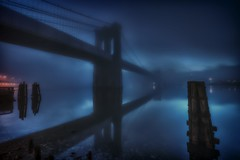 The Brooklyn Bridge in the fog on October 22, 2012 (mudpig) Tags: nyc newyorkcity longexposure bridge mist newyork color colour reflection fog skyline brooklyn night geotagged dawn cityscape dumbo brooklynbridge eastriver gothamist fdrdrive hdr southstreet seaport fdr watchtower mudpig stevekelley stevenkelley