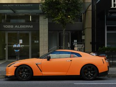nissan gtr (rgibbsphotography) Tags: roof orange canada black cars vancouver nissan bc rear wing mirrors columbia exotic modified british spotted supercar spotting matte spoiler exotics v6 supercars gtr