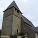Le clocher massif de St Sylvestre, Ste Colome, vallée d'Ossau, Béarn, Pyrénées Atlantiques, Aquitaine, France.