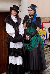 7D0012 2 Lovely Ladies in Victorian Dress - Whitby Goth Weekend 3rd Nov 2012 (gemini2546) Tags: nov white black green pie goth pork week lovely 3rd long black white 2470 blue green canon sigma dress hair 7d lens 2 ladies basque gown hat gloves blouse fur whitby 2012 victorian stole